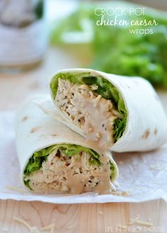 Chicken Caesar salad is one of my favorite salads. It's so simple, with really outstanding flavor. Use low carb wraps Chicken Ceasar, Chicken Caesar Wrap, Cesar Chicken, Chicken Caesar Sandwich, Chicken Alfredo, Low Carb Wraps, Slow Cooker Recipes, Crockpot Recipes, Cooking Recipes