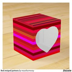 Red striped pattern party favor box