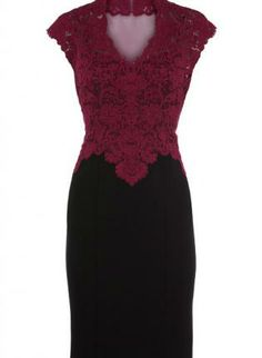 Wine Formal Dress - Sheer Back Lace Pencil Dress