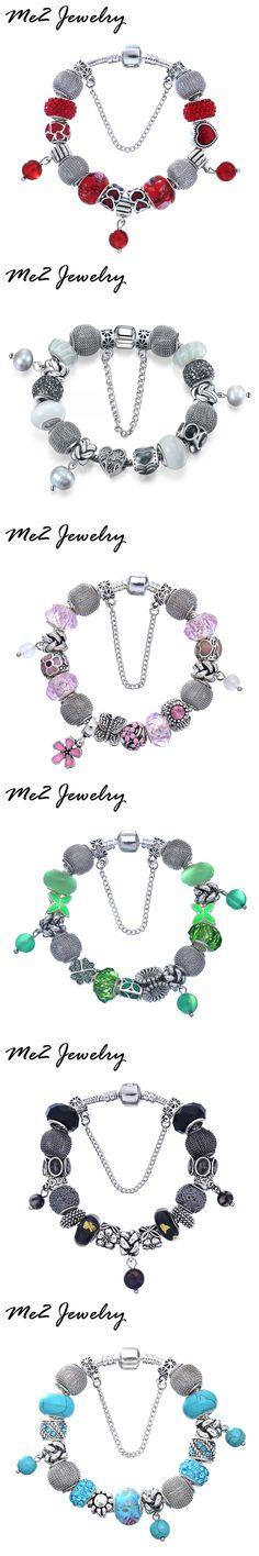 Easytown Brand Women Bracelet Silver Crystal Charm Bracelet for Women DIY Beads Bracelets & Bangles Jewelry Gift