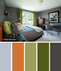 Bedroom Colour ideas Options From Soothing to Romantic. Coral and Kelly Green Bedroom. Pink and Purple Girl's Bedroom Bedroom Colour Schemes Green, Bedroom Paint Colors, Blue Gray Bedroom, Bedroom Orange, Kelly Green Bedrooms, Home Interior, Interior Design, Design Apartment, Living Room Green