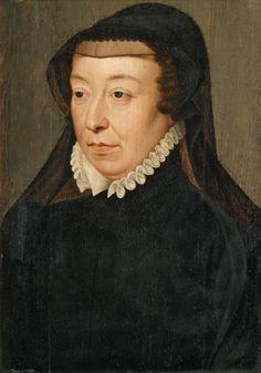 Catherine de Medici as a widow, workshop of François Clouet, 1550s
