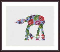 Star Wars Cross Stitch PDF pattern Floral At-At Silhouette