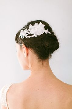 Silk Flower Crystal Vine Comb, Lace Bridal Hairpiece with Crystals and Silk Flowers #111HC