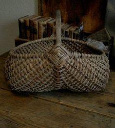 Antique Primitive Old Early Dry Patina Splint Farm Buttock Gizzard Basket ...~♥~