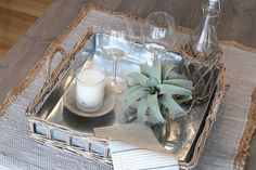 New Wicker Tray with Metal Liner