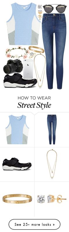 """Street Style"" by pf-marcon on Polyvore featuring Frame Denim, Jonathan Simkhai, Christian Dior, Zimmermann, NIKE, Eos, Accessorize and Allurez"
