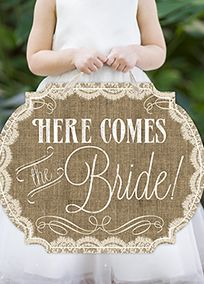 Burlap  Lace Print 'Here Comes the Bride' Sign, Style DBKXZFS15GBAL #davidsbridal #rusticwedding