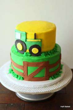 Children's Birthday Cakes - John Deere cake. Top left empty because the client had a topper she wanted to use.