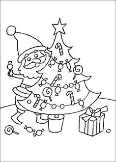 Santa Decorating Christmas Tree Free Coloring Pages Christmas - Coloring Ideas Animal Coloring Pages, Coloring Pages For Kids, Coloring Books, Christmas Colors, Christmas Tree Decorations, Christmas Fun, Printable Christmas Coloring Pages, Christmas Printables, Santa Face