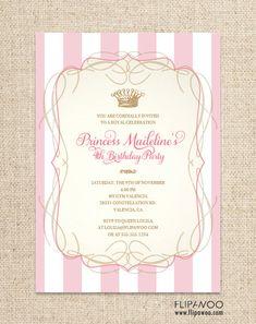 Princess Birthday Invitation Design by FLIPAWOO - Classic Stripes - Customized Printable File