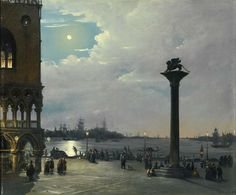 """""""Venice a nocturnal view of Piazza San Marco with the Ducal Palace"""" Ippolito Caffi. (1809 - 1866)"""