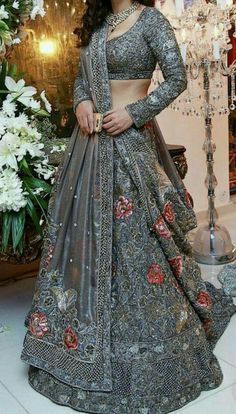 Buy online from largest collection of indian lehenga choli with best quality and lowest cost. Order this grey naylon net partywear designer lehenga with hand work online india. Cod and original product. Lehenga Choli, Lehenga Indien, Bridal Lehenga, Anarkali, Net Lehenga, Wedding Lehnga, Bollywood Lehenga, Wedding Sherwani, Indian Lehenga