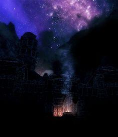 Skyrim night sky with brazier smoke rising upwards. Elder Scrolls Games, Elder Scrolls V Skyrim, Skyrim Gif, Video Game Art, Video Games, Midnight Sky, Red Vs Blue, Gods Glory, Photos Tumblr
