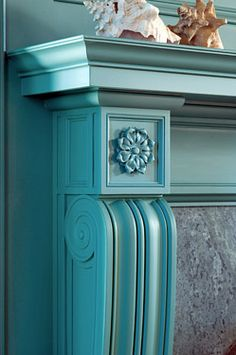 Blue Fireplace - white marble (YES, marble, i know!) was painted this color blue by an owner 20 years ago. Painted Fireplace Mantels, Paint Fireplace, Fireplace Mantle, Fireplace Surrounds, Mantles, Fireplace Ideas, Faux Mantle, Turquoise Cottage, Aqua
