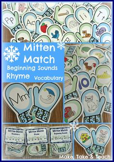 Winter is just around the corner! Mitten Match activities for beginning sounds, rhyme and vocabulary. Fun for your winter-themed centers. Alphabet Activities, Language Activities, Winter Activities, Classroom Activities, Preschool Winter, Kindergarten Literacy, Early Literacy, Kindergarten Classroom, Literacy Centers