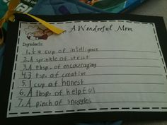 Second Grade Sparkle: Mother's Day Gift, recipe for a great mom!