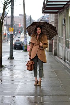 And here's another perfect street style outfit -- very fitting for our weather the last few days.