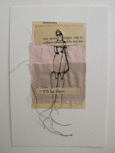 I'll be there  mixed media embroidery postcard by cathycullis, £22.00