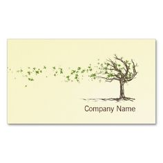 Zen Wind Tree With Leaves Business Card Template. Make your own business card with this great design. All you need is to add your info to this template. Click the image to try it out!