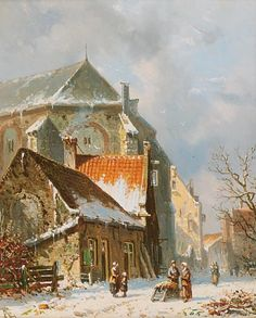 Date unknown - Eversen, Adrianus -Figures in a snow-covered town - Dutch Art Gallery Simonis and Buunk Ede, Netherlands. City Painting, Winter Painting, Winter Art, City Landscape, Winter Landscape, Carl Spitzweg, Exotic Art, Cityscape Art, Medieval Life