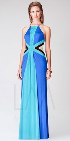This long evening gown by LM Collection features gorgeous color blocking detail and a high halter with delicate gold cha...Price - $318.00 - 3pbtoP1E