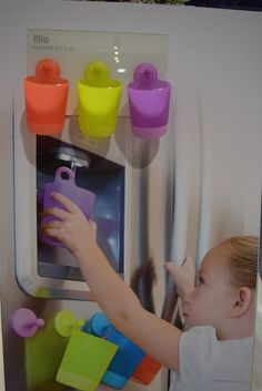 Kids have a habit of leaving their cups all over the place but never being able to find one when they need one. Puj will change that with Filla — a cup that hangs on a nub that attaches to the refrigerator. Expect them in stores in January. Abc For Kids, New Kids, Everything Baby, Baby Hacks, Baby Fever, Future Baby, Parenting Hacks, Cute Kids, Little Ones