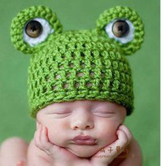 Baby-Infant-Newborn-Handmade-Crochet-Knit-Cap-Frog-Hat-Costume-Photograph-Prop