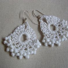 crocheted earrings  @Patricia Craig, i feel like you could do these..!!