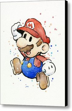 Mario Watercolor Fan Art Canvas Print / Canvas Art By Olga Shvartsur