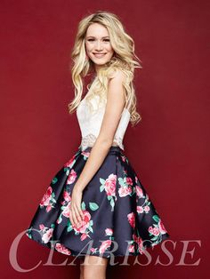 Two Piece Floral Homecoming Dress 3303 by Clarisse! Short two piece dress with white lace top and floral Mikado a-line skirt. COLOR: White/Navy Print SIZE: 0-16 Find your local retailer today by clicking the link below! http://clarisse.com/locator/index.php