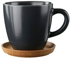 Höganäs Keramik - Our products - Mugs - Coffee mug with wooden saucer 33 cl Espresso Cups, Coffee Cups, Tea Cups, Grey Mugs, Coffee Cup Design, Grey Tea, Wooden Coasters, Coffee Staining, Mug Cup