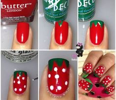 Strawberry Nails Tutorial @Luuux #Nails #Accessory