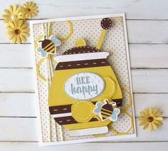 Bee Happy card using Cricut Just Because Cards.