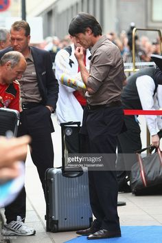 Joachim Loew, head coach of the German national team arrives with the team at team squad Hilton Vienna Plaza hotel June 15, 2008 in Vienna, Austria.