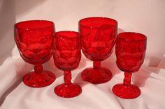 6 Viking Georgian Ruby Red Crystal Glassware by VintagebyViola, $55.00