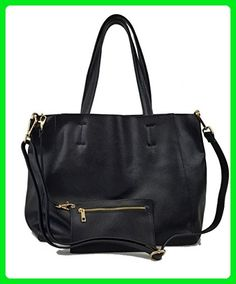 dc8471d866 Genuine Soft Pebble Leather Tote Bag with Removable Lining and Adjustable  Shoulder Strap (Black). In Bags We Trust · Top Handle Bags