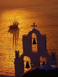 Sailing ship and Church Bells at sunset, Greece