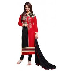 Eid Special Designer Embroidered Red & Black Cotton Unstitched Straight Churidar Suit-1002( ST-AT )Karishma