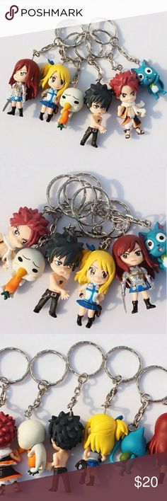 """Fairy Tail Cartoon Anime Figurine Keychain SET NEW ❌NO TRADES!❌ 🚫NOT SELLING SEPARATELY🚫  Brand New Tomy Takara SET of 6 Fairy Tail Anime character keychains! Each keychain is about 2"""" tall. Natsu, Lucy, Grey, Erza, Happy and Plue! Tomy Takara A.R.T.S is a Japanese entertainment company making children's toys and merchandise located in Katsushika, Tokyo. Get your hands on this adorable set! Other"""
