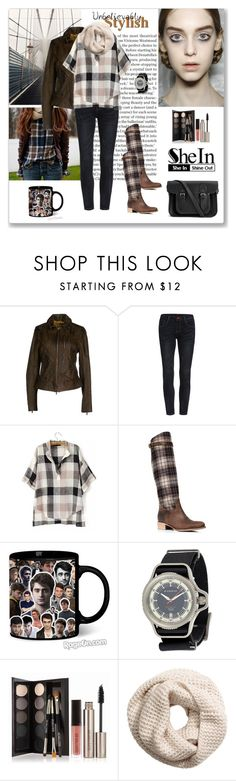 """""""Shein Black V Neck Blouse"""" by ludmyla-stoyan ❤ liked on Polyvore featuring Charles David, Radcliffe, Givenchy, Laura Mercier, H&M, The Cambridge Satchel Company, plaid, blouse and shein"""