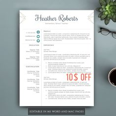 Professional Resume Template for Word & Pages. Complete 1,2,3 Pages Resume Template. Professional CV Template. Elegant CV, Creative Resume. by VisionTemplates on Etsy