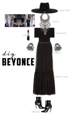 """""""Beyonce"""" by thatgemgirl ❤ liked on Polyvore featuring DYLANLEX, Maison Michel, Rosetta Getty, Needle & Thread, MAC Cosmetics and Balenciaga"""