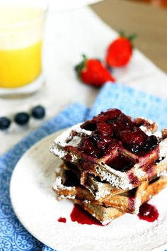 Whole Wheat Berry Waffles with Strawberry Blueberry Syrup | Fabtastic Eats