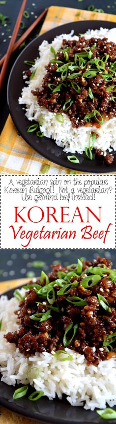 Korean Vegetarian Beef ~ A vegetarian version of the popular bulgogi.  My version – Korean Vegetarian Beef – uses textured vegetable protein to achieve the same results as ground beef.  20 minutes start to finish! | Lord Byron's Kitchen
