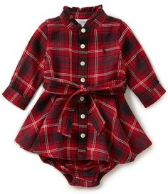 Devoted Ralph Lauren Baby Girl Red Hooded Dress And Pants Girls' Clothing (newborn-5t) 9 Months