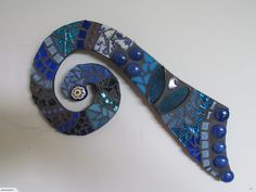 Mosaic Koru in Blue Tones
