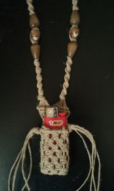 The hemp lighter-pouch necklace made just for me by my good friend Will :)