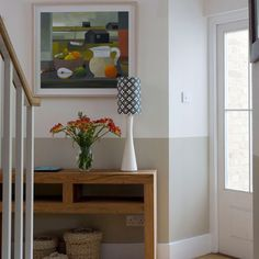 Paint colors for small hallways small hallway ideas small hallway two tone wall wood console table . paint colors for small hallways Small Hallway Table, Small Hallway Decorating, Small Hallways, Hallway Ideas, Decorating Ideas, Hallway Designs, White Hallway Furniture, Entryway Decor, Hallway Decorations