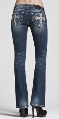 #MissMeJeans  Pyramid Crystal Cross Jean www.barbedwireroses.com